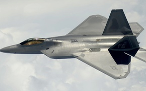 dual monitors, jet fighter, aircraft, F, 22 Raptor, military aircraft