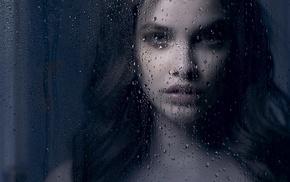 glass, brunette, water drops, water on glass, girl, Barbara Palvin
