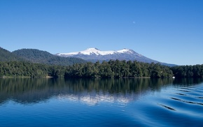 mountains, snowy peak, forest, lake, Chile, landscape