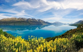 lake, nature, spring, yellow, mountains, reflection