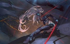 white hair, anime girls, cyberpunk, sword, original characters
