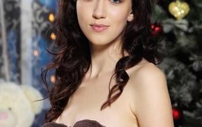 brunette, undressing, bra, Tacia A, Christmas Tree, portrait display