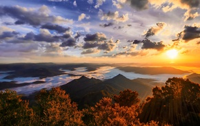 mountains, nature, sunset, trees, landscape, forest