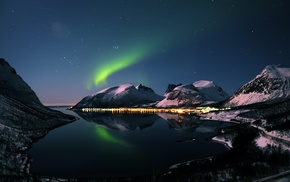 night, aurorae, sea, landscape, winter, water