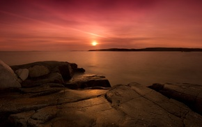 sunset, sea, nature, water, bay, rock formation