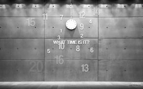 monochrome, photography, clocks, wall