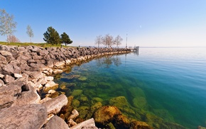 lake, rock, water, landscape, photography, Switzerland
