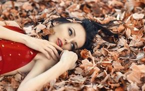 open mouth, dark hair, fall, long hair, Alessandro Di Cicco, lying down