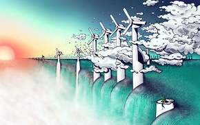 clouds, wind turbine, water, artwork, Sun