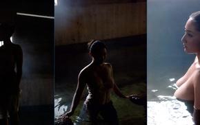 spa, nude, model, wet clothing, Saaya Irie, collage