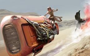 artwork, Star Wars, Rey, Kylo Ren, Star Wars The Force Awakens
