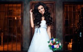 brides, girl, smiling, model, wedding dress