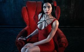 chair, model, sitting, girl, dress, red dress