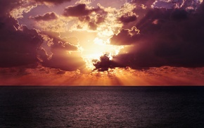 clouds, Sun, sea, sunlight, sunset, nature