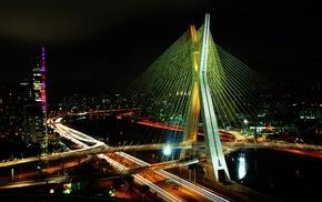 cityscape, urban, night, bridge, So Paulo, lights