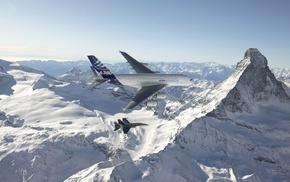 photography, passenger aircraft, Switzerland, airplane, military aircraft, mountains