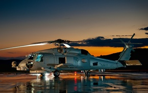 helicopters, dusk, United States Navy, Sikorsky UH, 60 Black Hawk, photography