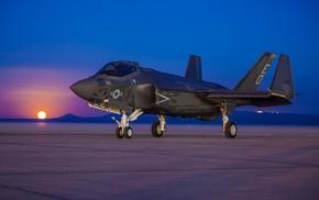 US Air Force, jet fighter, aircraft, Lockheed Martin F, 35 Lightning II, sunset