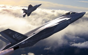 Lockheed Martin F, 35 Lightning II, artwork, military aircraft, US Air Force, aircraft