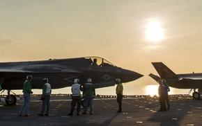 jet fighter, Lockheed Martin F, 35 Lightning II, USMC, aircraft, multiple display