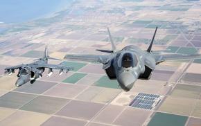 military aircraft, Lockheed Martin F, 35 Lightning II, AV, 8B Harrier II, USMC
