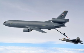 jet fighter, military aircraft, F, 22 Raptor, mid, air refueling
