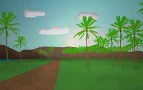 simple, palm trees, landscape