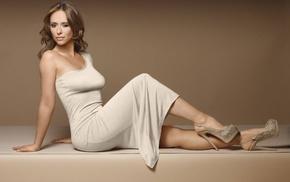looking at viewer, high heels, Jennifer Love Hewitt, brunette, white dress, actress