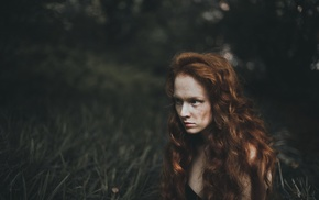 mountains, redhead, girl, grass, looking away, curly hair