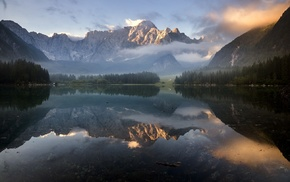 clouds, forest, reflection, mist, Italy, landscape