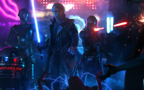 cyberpunk, lightsaber, Luke Skywalker, Star Wars