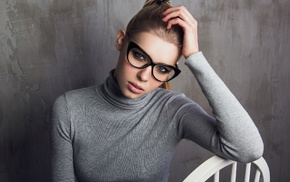 portrait, looking at viewer, girl with glasses, girl, hands on head