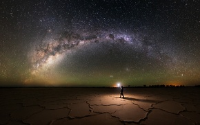 galaxy, salt lakes, lantern, lights, explorer, landscape
