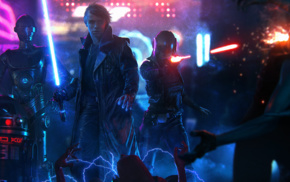 Star Wars, cyberpunk, lightsaber, Luke Skywalker