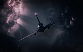clouds, atmosphere, machine, sunlight, technology, aircraft