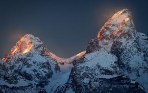 Wyoming, nature, Grand Teton National Park, snowy peak, sunlight, sunset