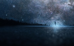 night sky, stars, silhouette, nebula, horizon