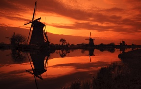 reflection, sunset, windmill, landscape, sunlight, silhouette