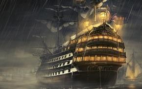 sailing ship, drawn, ship, ultrawide