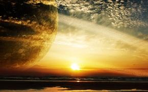sunset, planet, orange, clouds, beach, sea