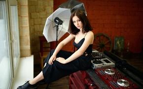 model, girl, sitting