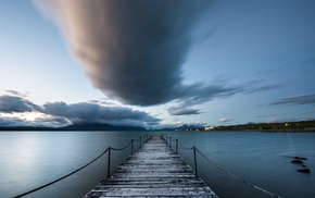 pier, Chile, water, clouds, Puerto Natales
