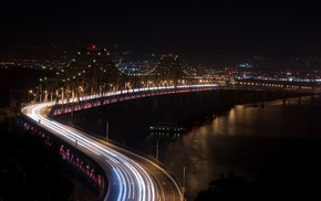 cityscape, long exposure, photography, night, bridge, sea