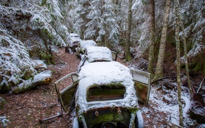car, vehicle, wreck, winter