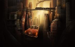 street, car, bridge, futuristic city, fans, vintage