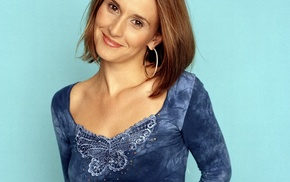 girl, blue dress, simple background, smiling, British, hazel eyes