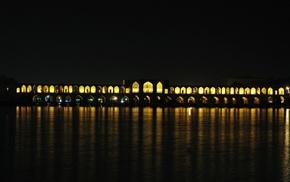 Iran, reflection, lights, architecture, bridge, river