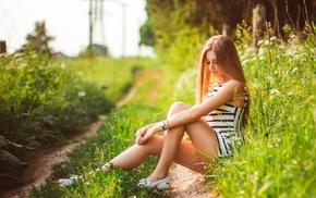 blonde, girl outdoors, striped clothing, girl, model, legs
