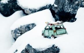 rock, toys, mountains, snow, winter