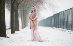looking at viewer, snow, winter, blonde, pink hair, alone